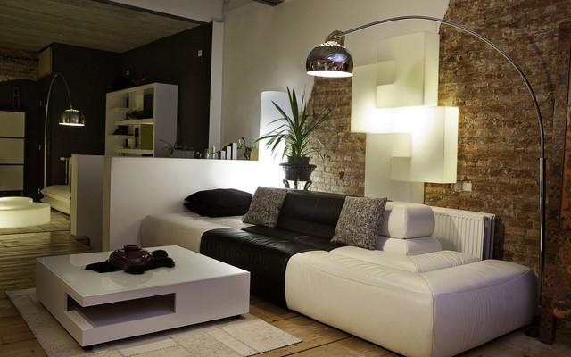 muebles cuero blanco pared idea ladrillo