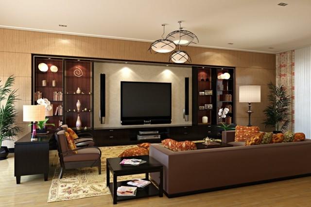decoración de interiores muebles cuero salon marron televisor