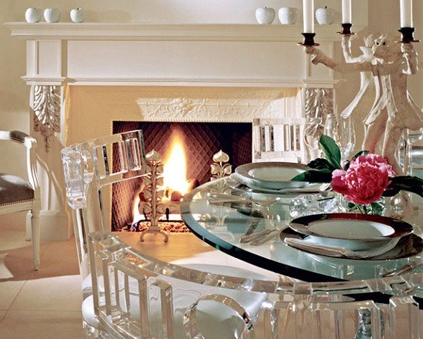 muebles de cristal chimenea lujosa