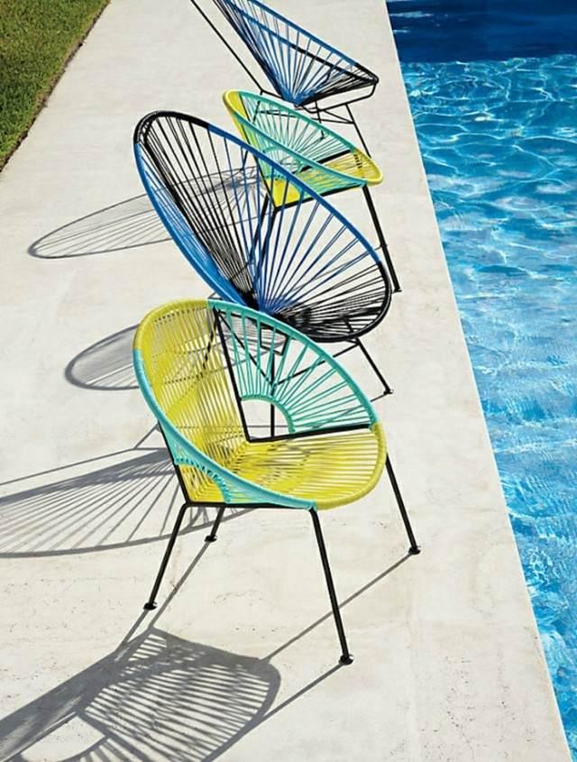 muebles de exterior sillas tejidas hecho mano color llamativo