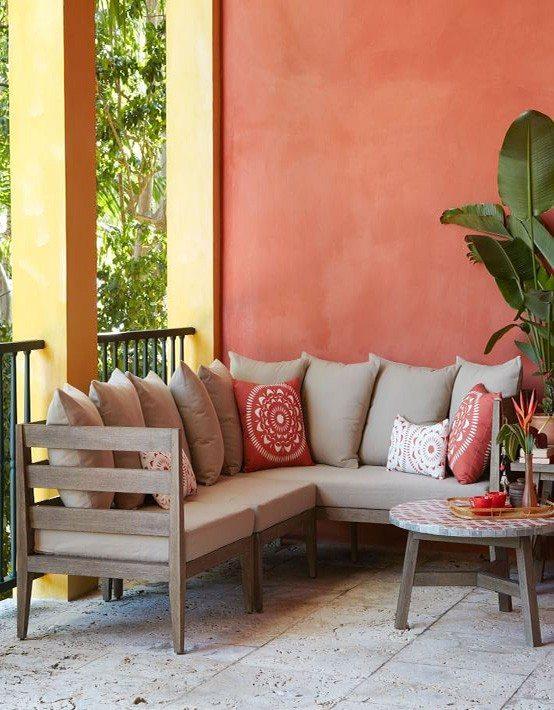 muebles de jardn madera almohadones balcon