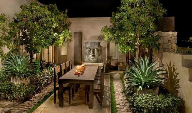 muebles de  terraza patio plantas