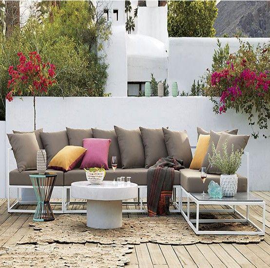 Cojines jardin cojines jardin mdulo de jardn de mimbre y - Cojines muebles exterior ...