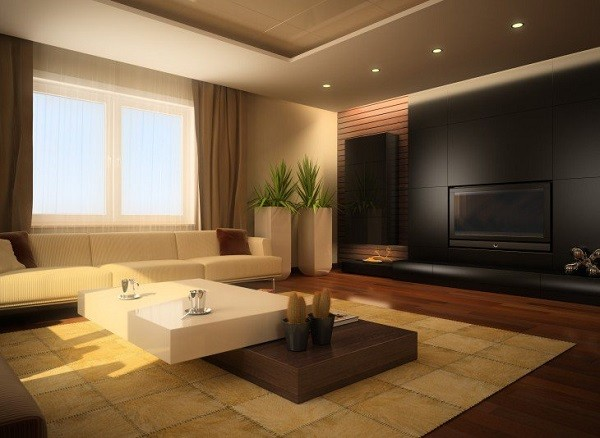 muebles de salón minimalista materiales