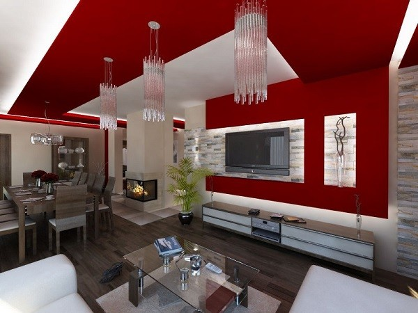 muebles de salón rojo pared