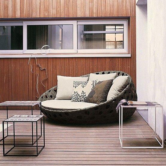 muebles de terraza confortable cojines circular