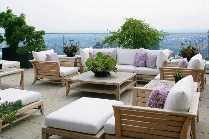 muebles de terraza madera jardin pantas mesa