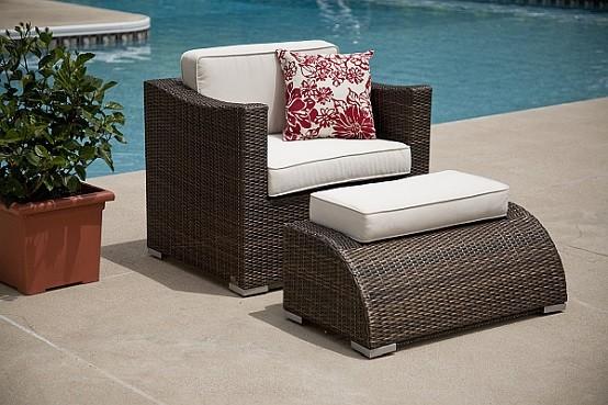 muebles de terraza mimbre mobiliario decoracion piscina