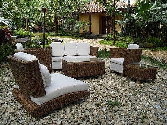 muebles de terraza mimbre mobiliario jardin cojines