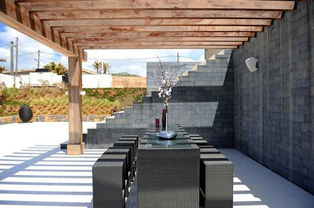 muebles de terraza mimbre negro cuadrado