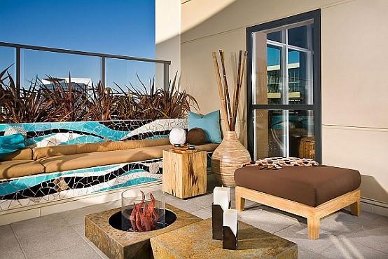 muebles de terraza con accesorios de madera
