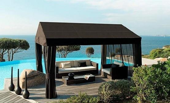 muebles de terraza techado playa jardin cortinas