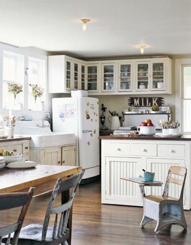 Vintage estilo retro cl sico en la cocina - Cocinas blancas rusticas ...