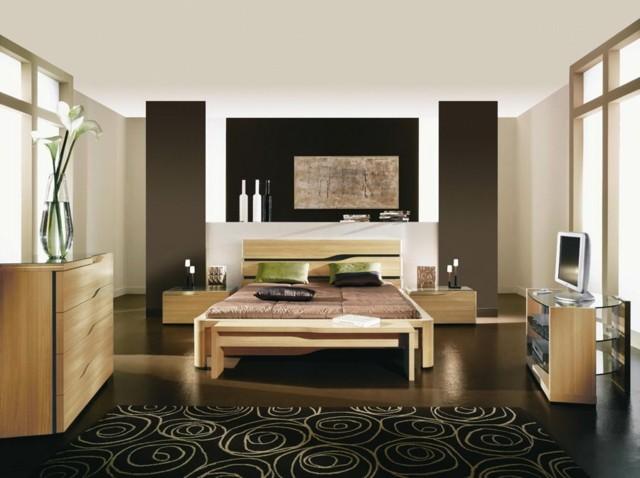 muebles flores jarron cama calido dormitorio