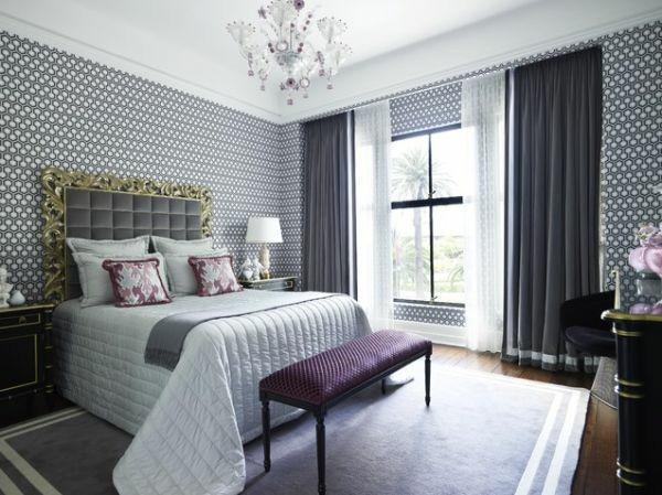 muebles habitación papel pared clásica