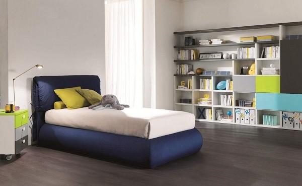 muebles juveniles cama azul moderna