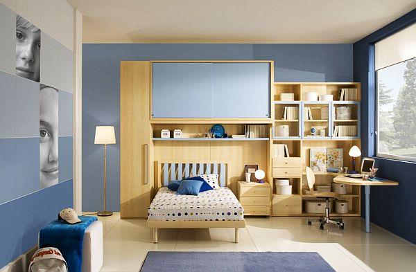 muebles madera juvenil paredes azules