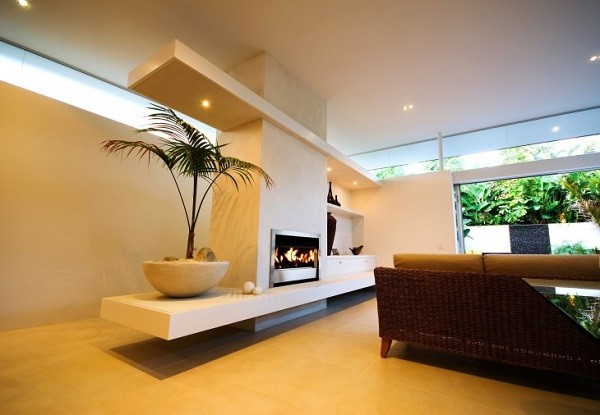 muebles salón chimenea beige planta