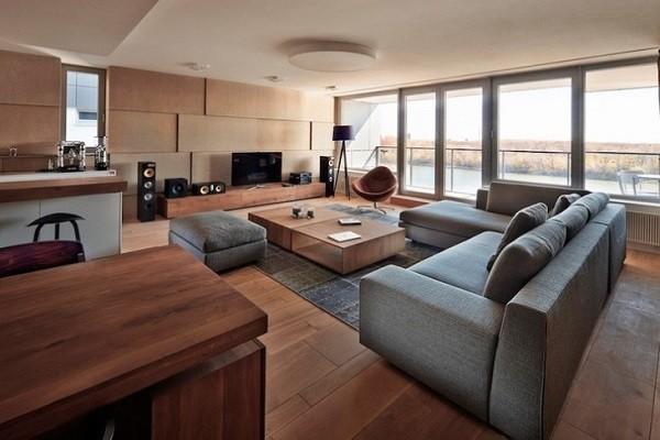 muebles salón madera gris moderno