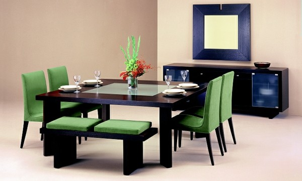 muebles verdes coomedor salón espejo