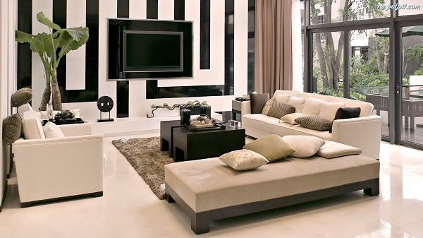 muebles de salón azulejos negros