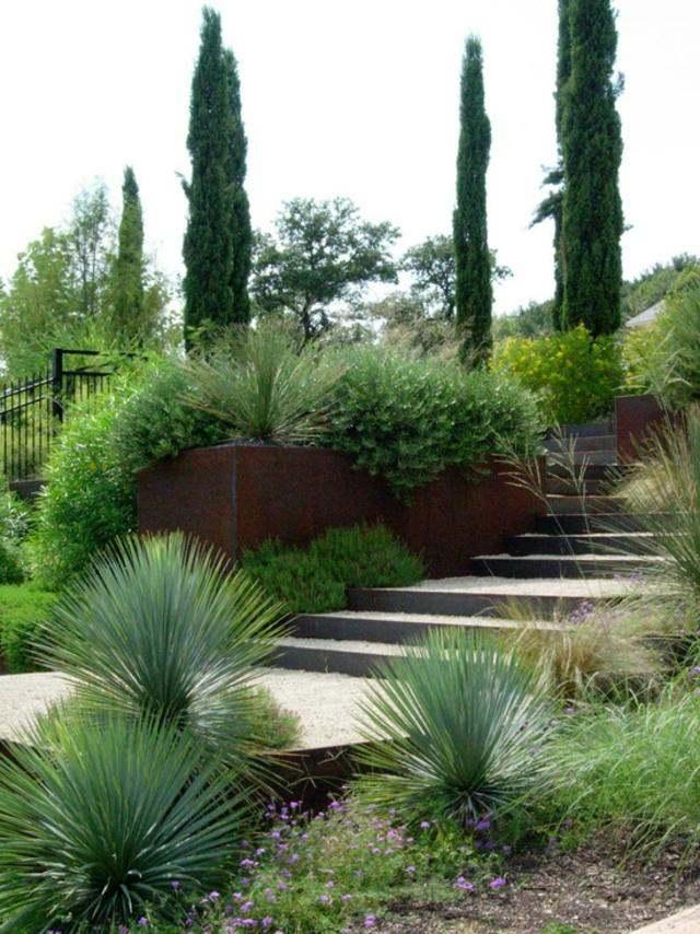 muro plantas escalones jardin flores
