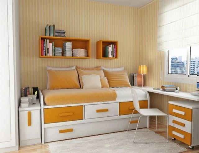 naranja adolescente gavetas cama moderno