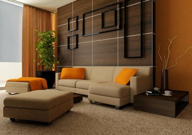 naranja cogines pared madera diseño moderno