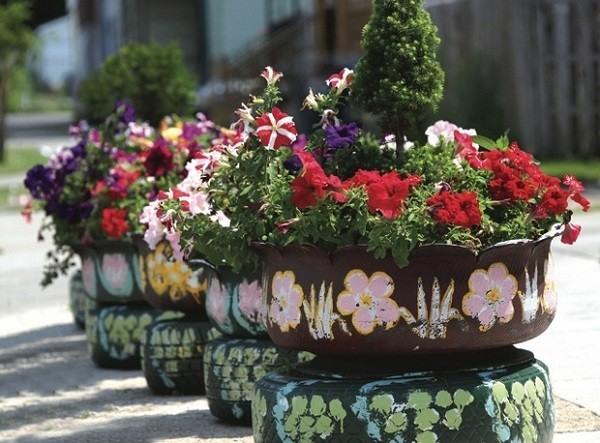 neumatico plantas flores jardin neumáticos