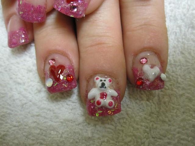 osos corazones uñas cortas ideas rosa moderno