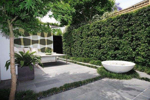 paisaje bonito jardin trasero estilo minimalista plato fuego