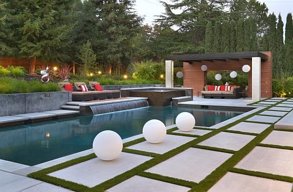 paisaje bonito piscina estilo minimalista cojines moderno