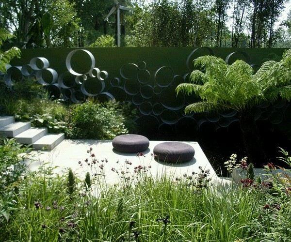 paisaje jardín escaleras decoración