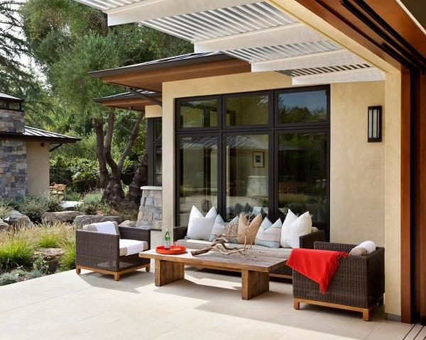 paisaje moderno sillas madera cojines