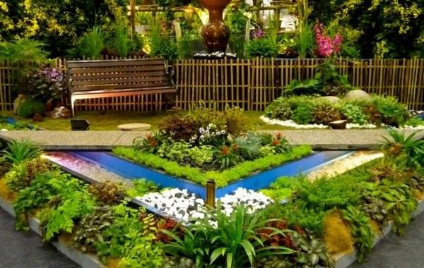 paisajes naturales patio flores moderno