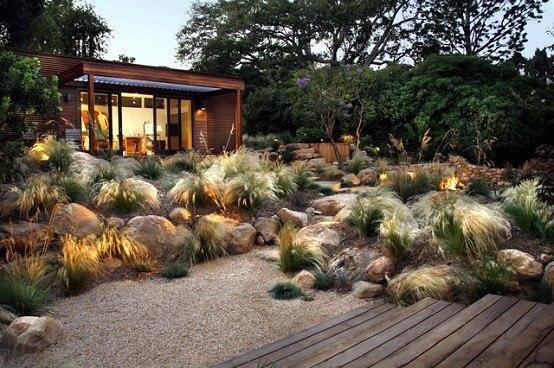paisajismo jardines decoracion luminarias madera