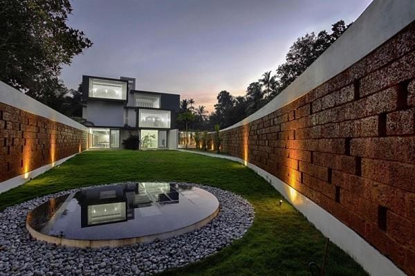 paisajismo moderno jardín fuente