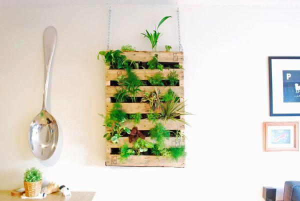 palet plantas interior colgante decoracion diseño
