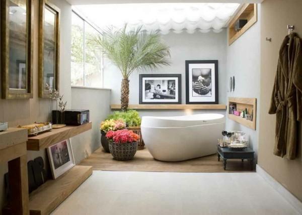 palmera baño decoración madera