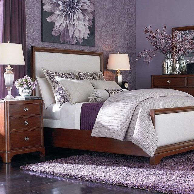 papel cuarto lavanda lila cama