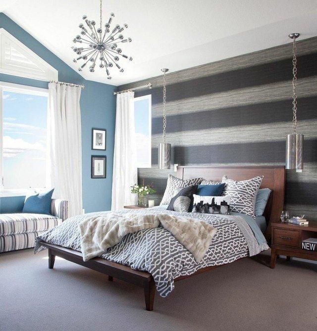 papel de pared con rayas horizontales y tonos azules - Papel Pintado Rayas Horizontales