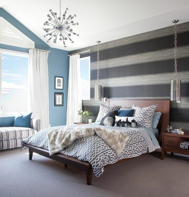 papel de pared rayas azul gris