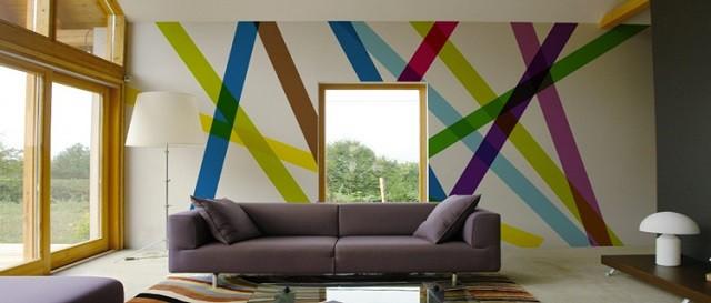 papel pared bandas colores moderno