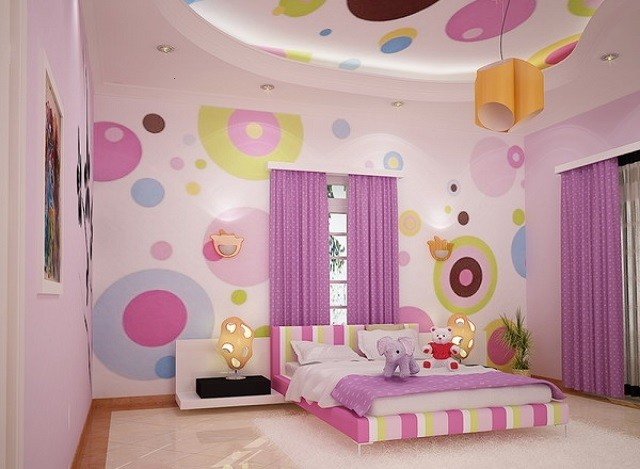 papel pared infantil rosa