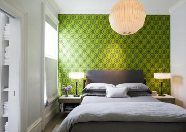 papel pared pintado verde círculos