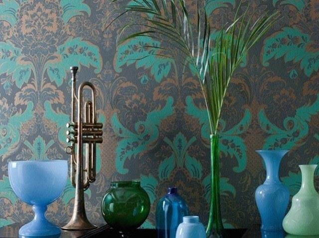 papel pared verde bonito trompeta