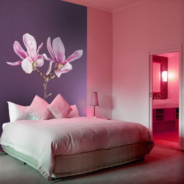 papel pintado flor grande rosa