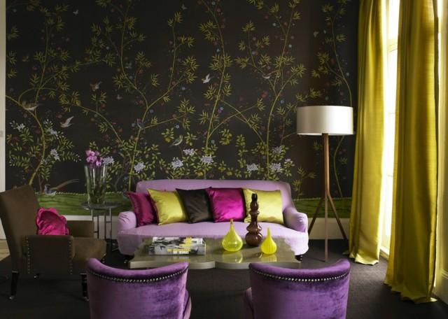 papel pintado pared oscuro flores