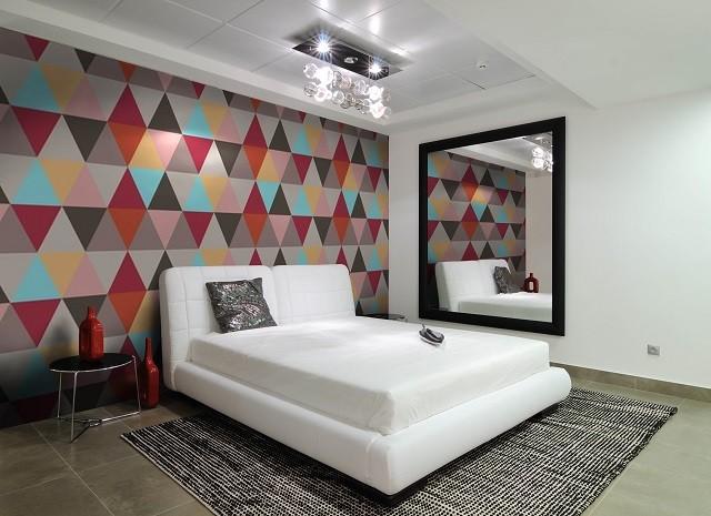 papel pintado pared sala mosaico