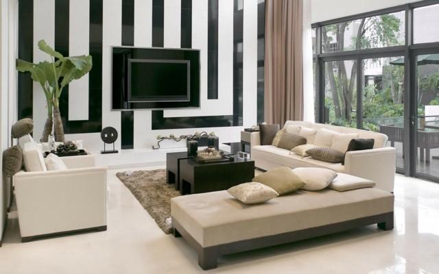 decoración de interiores  pared blanco negro moderno idea